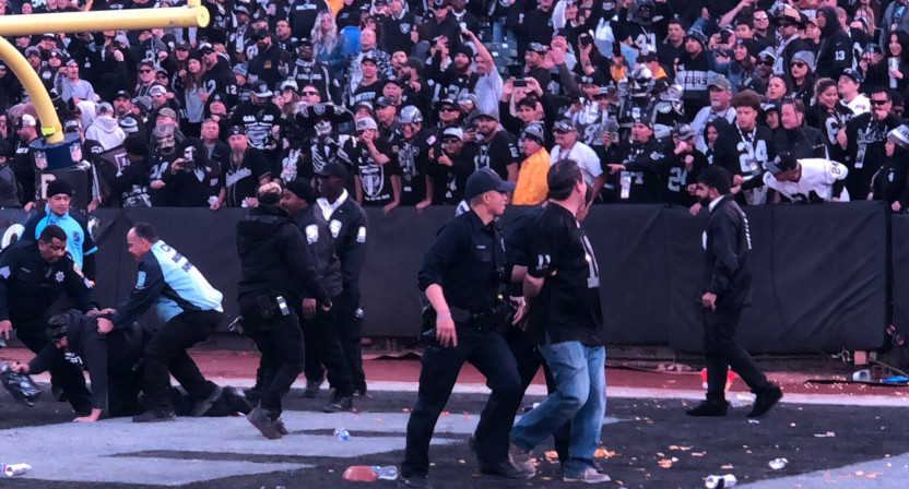 The Raiders' final game in Oakland came with garbage thrown on the field.