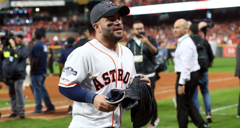 Jose Altuve after his game-winning home run in Game Six of the 2019 ALCS.
