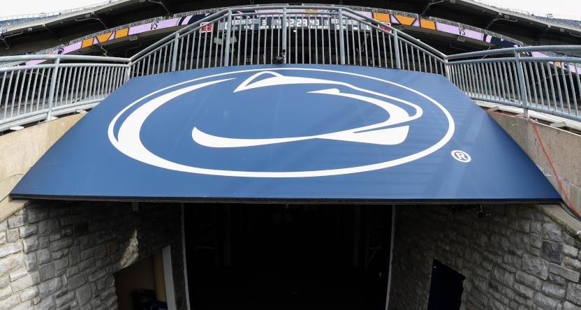 A Penn State logo inside Beaver Stadium in 2017.
