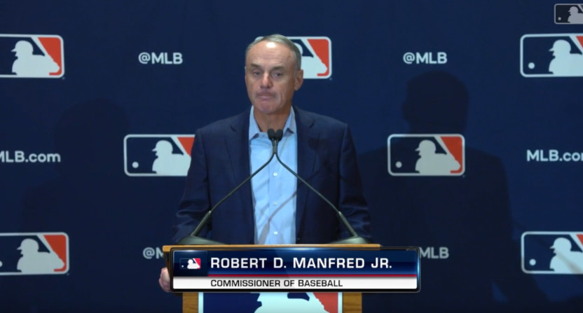 Rob Manfred at a Feb. 18, 2020 press conference.