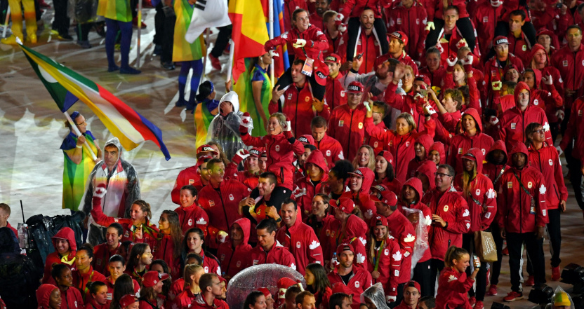 Canada, seen at the 2016 Rio Olympics closing ceremonies, won't take part in a non-postponed 2020 Tokyo Olympics.