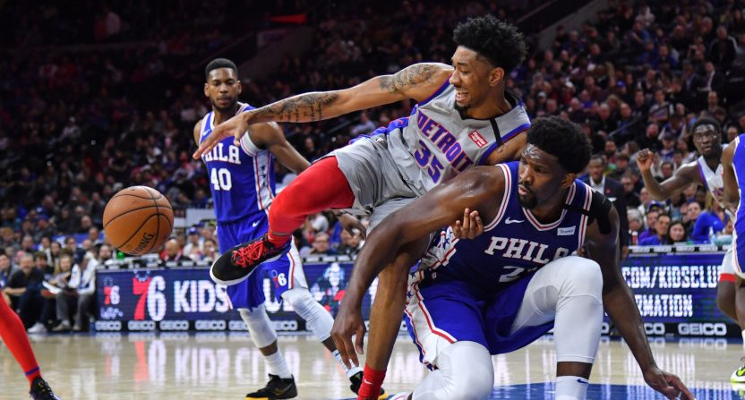 Christian Wood against Joel Embiid on March 11, 2020.
