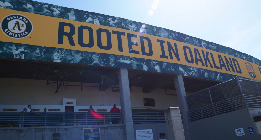 An Oakland A's Rooted In Oakland banner at the Oakland-Alameda County Coliseum.