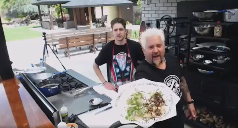 Guy Fieri doing Diners, Drive-Ins and Dives from home.