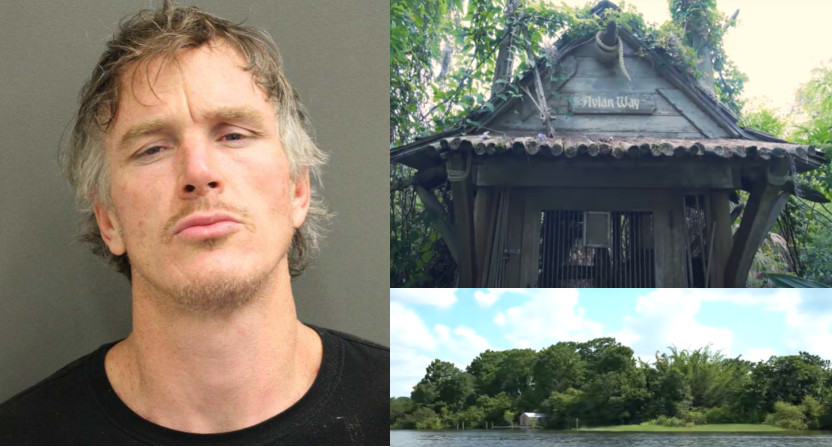 Richard McGuire (L) was arrested for trespassing on Disney's Discovery Island (R).