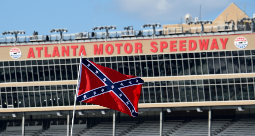 A Confederate flag in Atlanta ahead of a NASCAR race in February 2018.