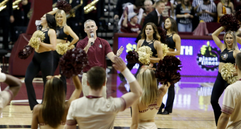 Mike Norvell being introduced at a Florida State basketball game in December 2019.
