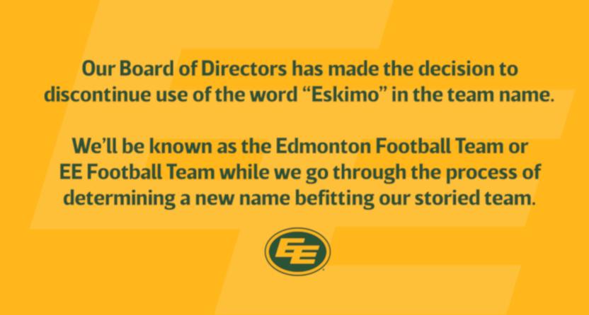 The Edmonton CFL team's name change statement.