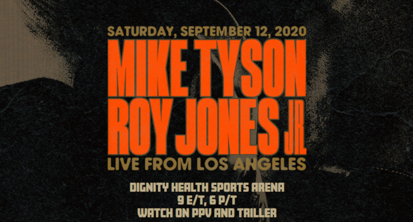 A poster for the Mike Tyson-Roy Jones Jr. fight.