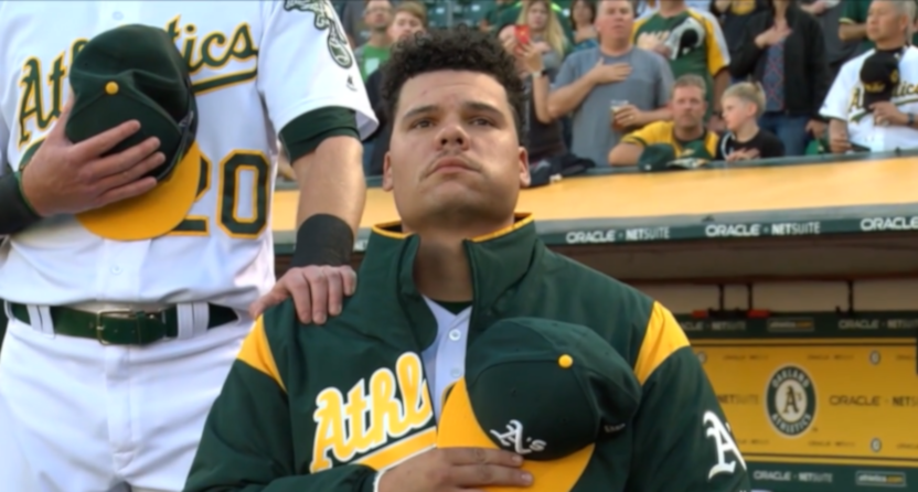 Bruce Maxwell kneeling in 2017.