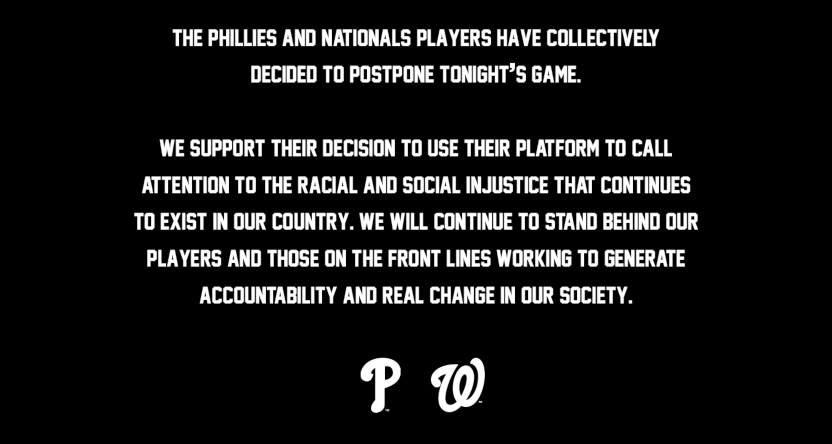 MLB saw several games postponed Thursday. Here's a joint Phillies-Nationals statement.