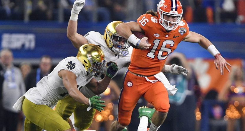 Trevor Lawrence is ready to run No. 1 Clemson through the ACC once again, including Notre Dame. Photo: USA Today Sports