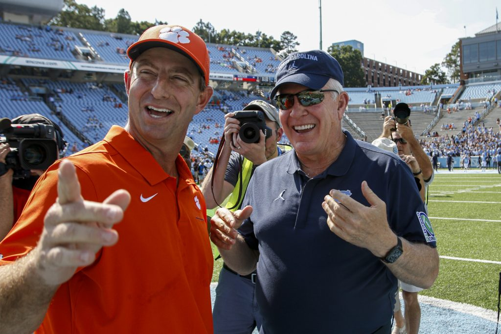 Dabo Swinney and Mack Brown would make for a great coaching matchup in the ACC Championship Game in 2020. Photo: USA Today Sports
