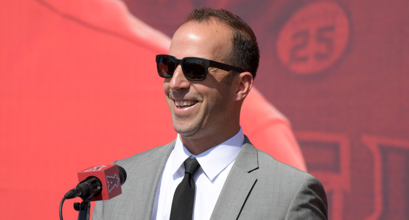 Billy Eppler at Mike Trout's contract extension.