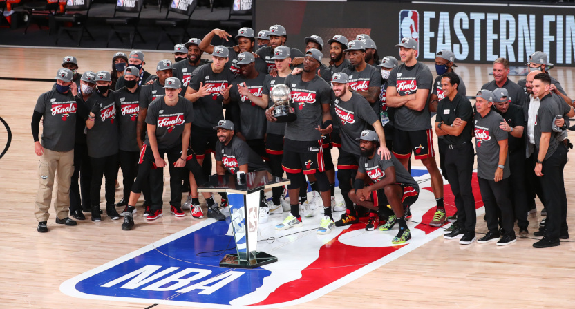 The Miami Heat after winning the NBA's Eastern Conference Finals.