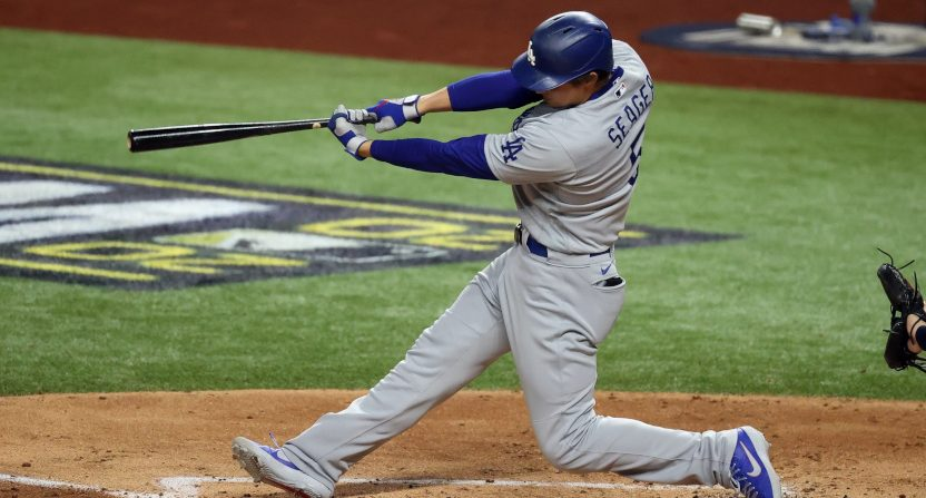 Corey Seager hit his eighth home run of the postseason Saturday.