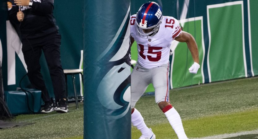 Golden Tate celebrating a touchdown against the Eagles.