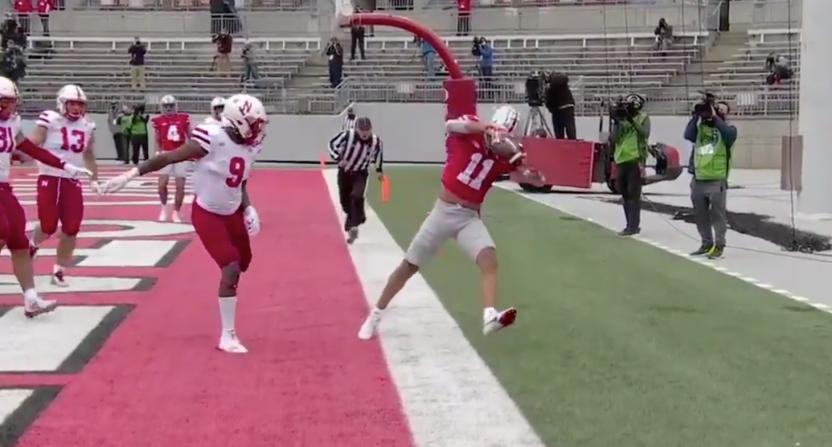 Jaxon Smith-Njigba made a stellar touchdown catch in Ohio State's rout of Nebraska.