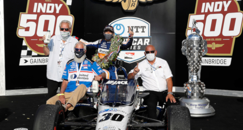 Mike Lanigan, David Letterman, Takuma Sato and Bobby Rahal with the #30 car at the 2020 Indianapolis 500.