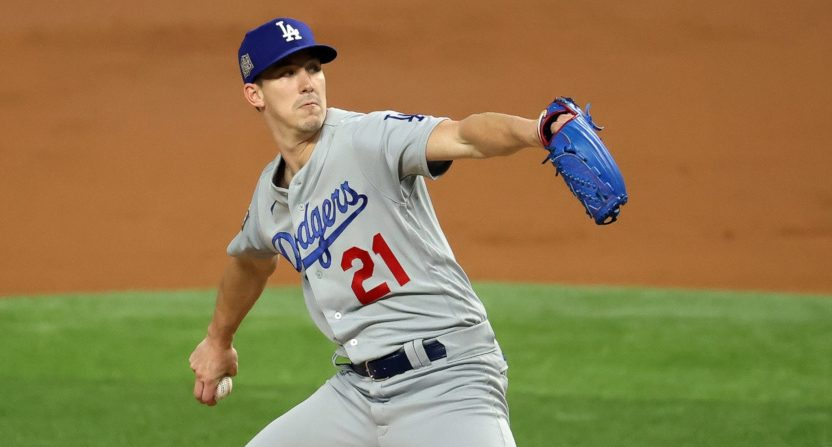The Dodgers' Walker Buehler pitching in Game 3.