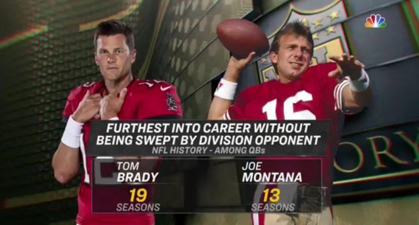 NBC's graphic with Tom Brady and Joe Montana.