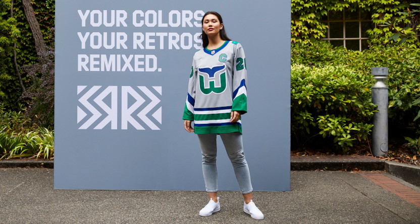 The Hurricanes' Whalers jersey stands out as a good NHL retro remix.