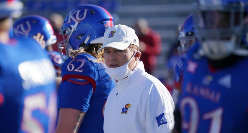 Les Miles at Kansas in an Oct. 31, 2020 game.