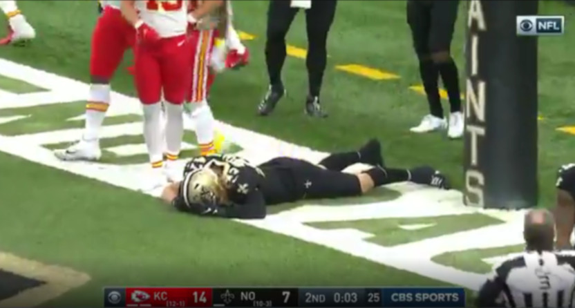 This failed fumble recovery hurt the Saints and first-half over bettors.