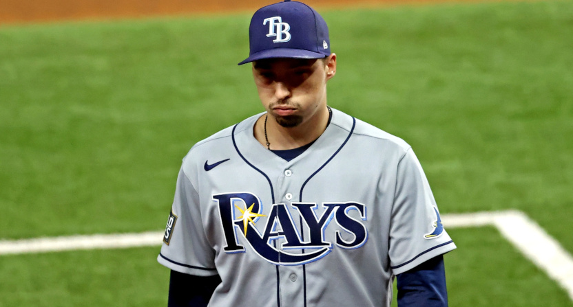 Blake Snell after the Rays pulled him in Game 6 of the World Series.