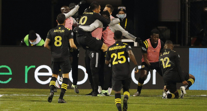 Lucas Zelarayán (10) celebrates with Columbus teammates after scoring during the MLS Cup Final.