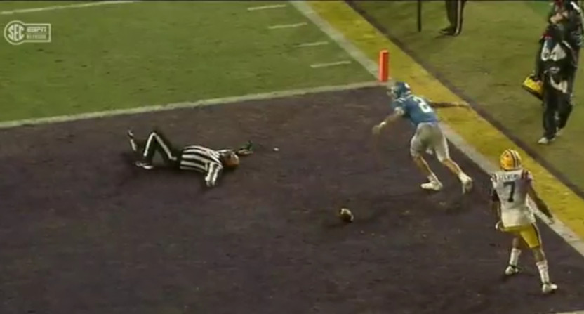 A linesman hit in the Ole Miss-LSU game.