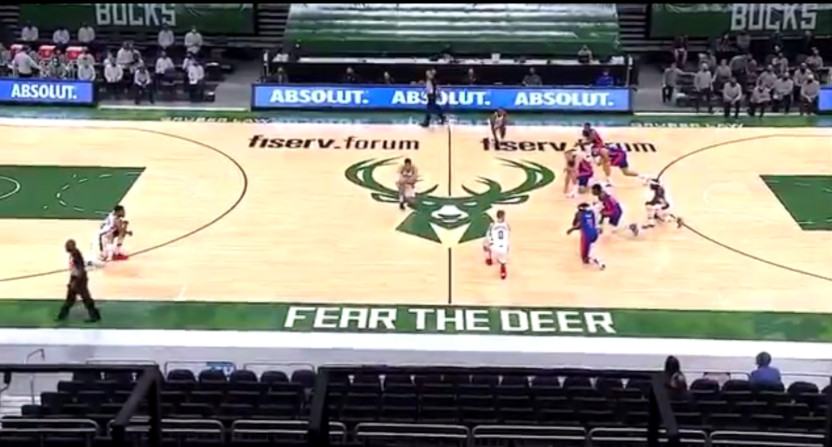 The Milwaukee Bucks and Detroit Pistons take a knee Wednesday night.