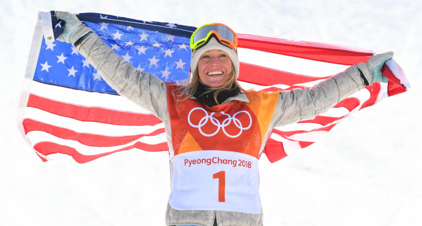 Jamie Anderson celebrates her slopestyle gold at the 2018 Olympics.