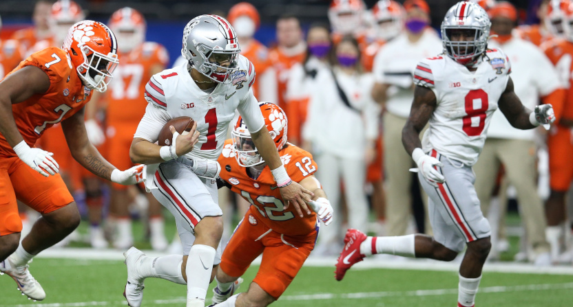 Justin Fields running against the Clemson Tigers in the Sugar Bowl.