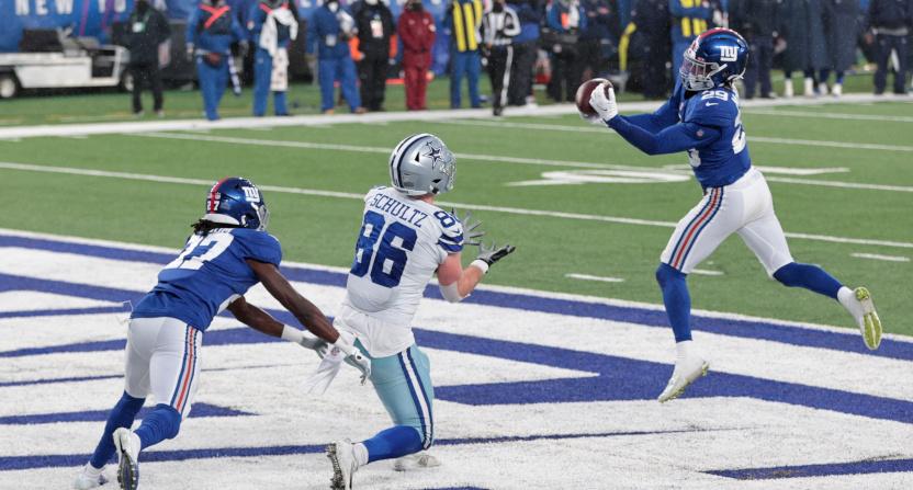 Giants' S Xavier McKinney's pick against the Cowboys.
