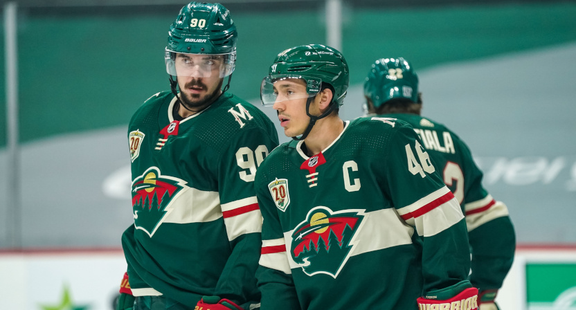 Wild players Marcus Johansson and Jared Spurgeon on Jan. 24.