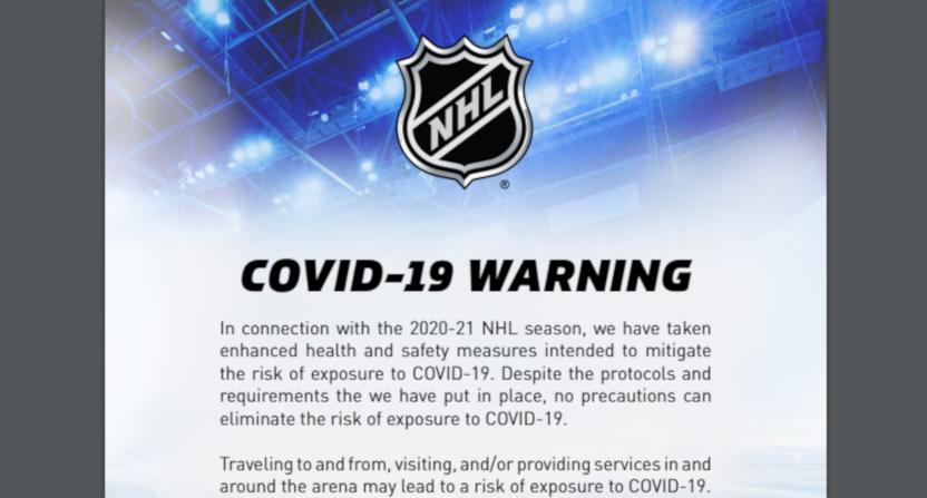 A NHL COVID-19 warning from their 2020-21 season protocols.