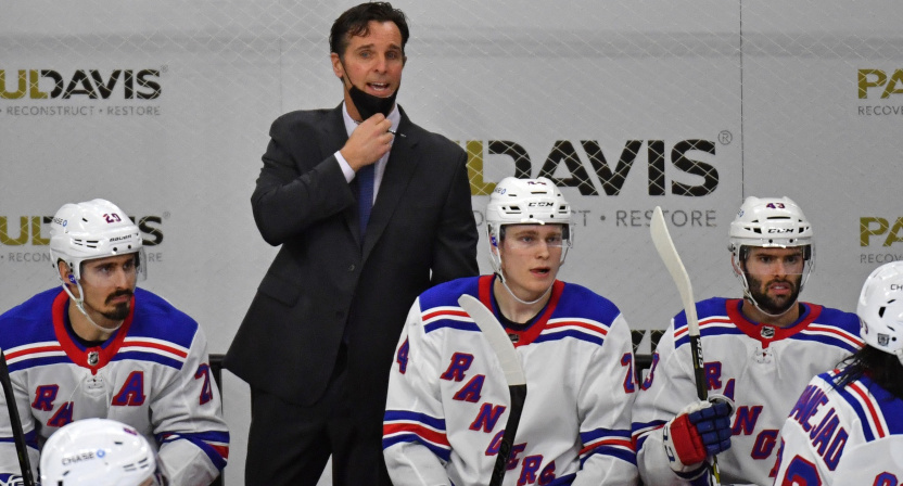 David Quinn with the Rangers on Feb. 18, 2021.