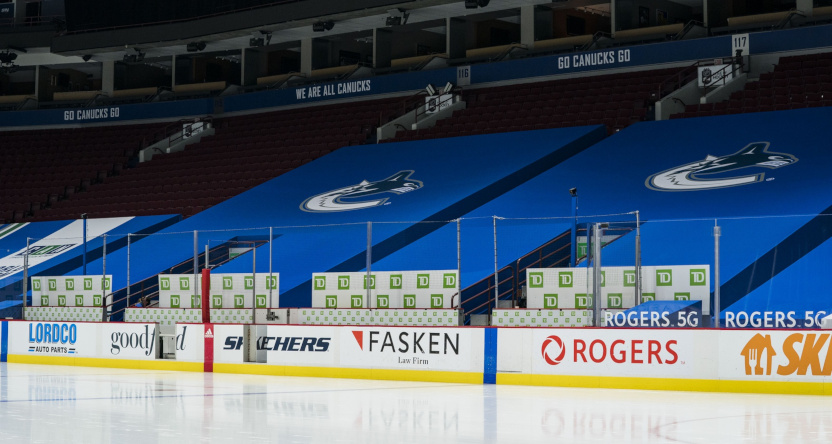 The Vancouver Canucks' empty arena after a postponed game against the Calgary Flames March 31.