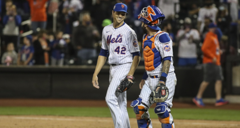 Jacob deGrom with Tomas Nido after beating the Nationals on April 23, 2021.