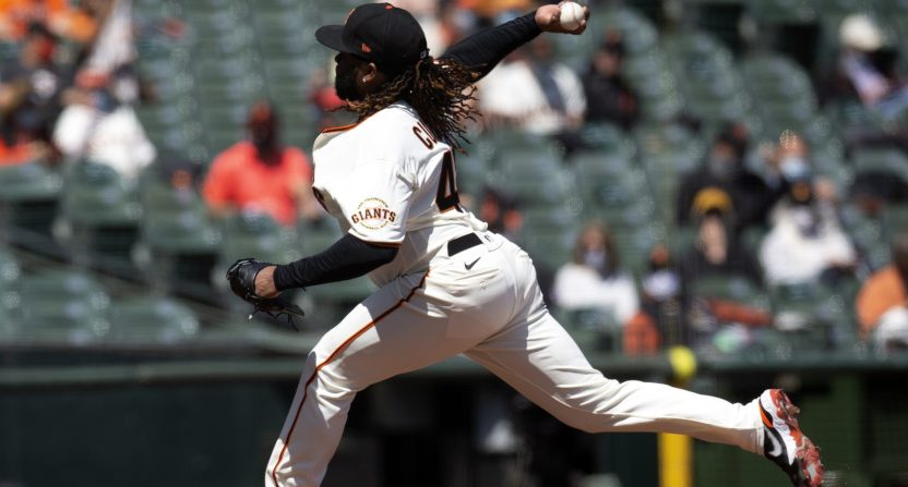 Johnny Cueto pitching against the Rockies.