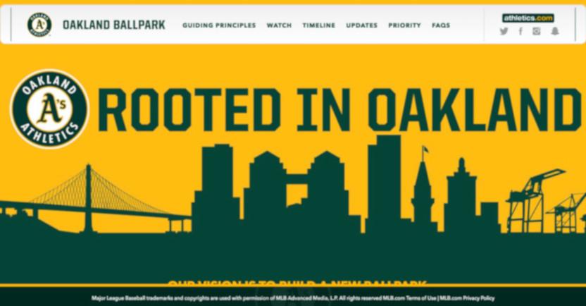 The Athletics stadium website in 2017.