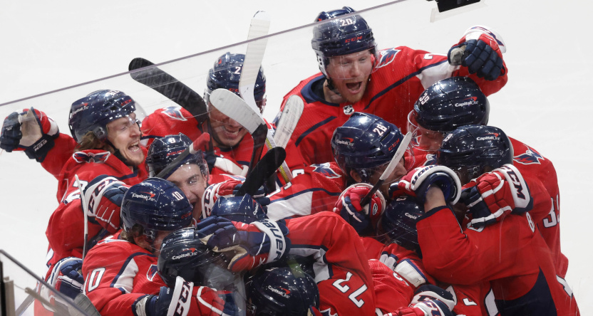 The Capitals celebrating their Game 1 win over the Bruins.