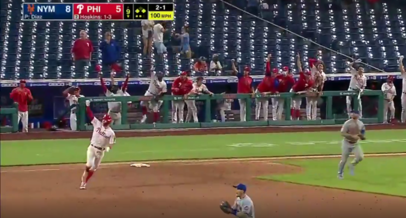 Rhys Hoskins celebrates a HR that was overturned.