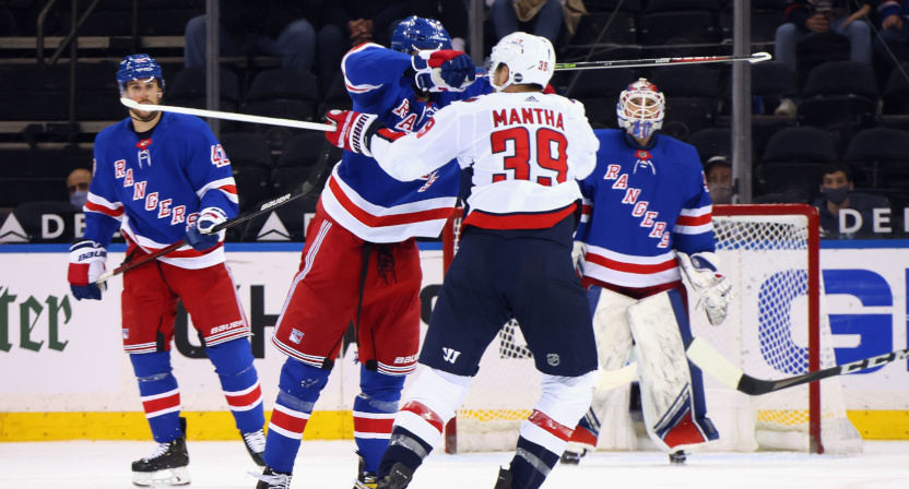 Pavel Buchnevich with a high stick on Anthony Mantha.