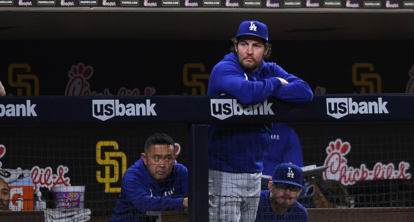 Trevor Bauer in the Dodgers' dugout on June 22, 2021.
