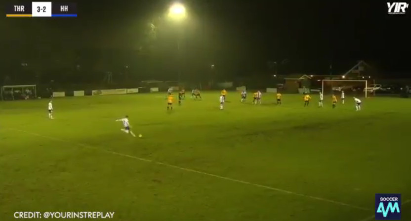 Callum Saunders scored this goal while making an insurance claim he couldn't walk.