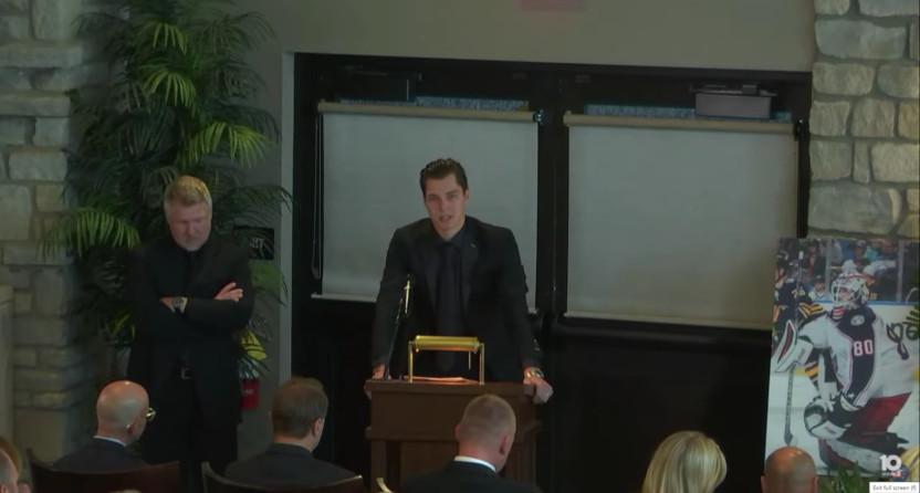 Elvis Merzlikins speaking at Matiss Kivlenieks' memorial.