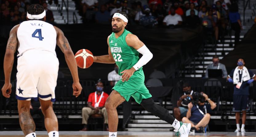 The U.S. basketball team against Nigeria.