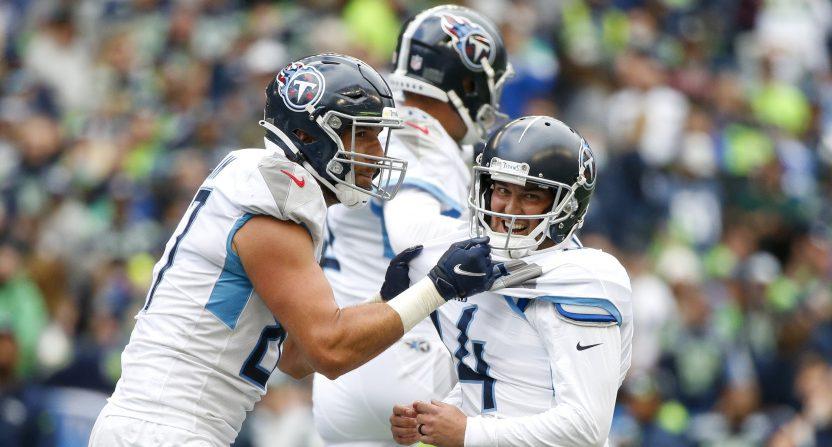 Titans' K Randy Bullock's game-winning FG against the Seahawks.